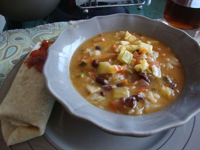 Vegetarian tortilla soup and burrito