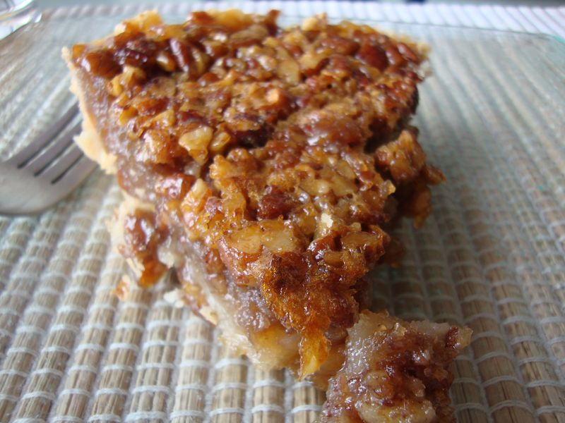 Pecan pie for breakfast, ready to eat