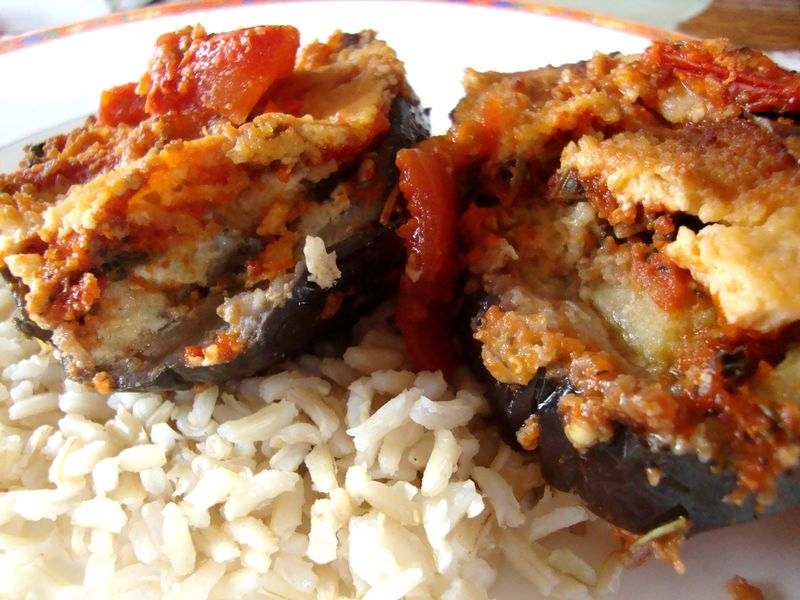 Dad's eggplant parmesan on a bed of brown rice