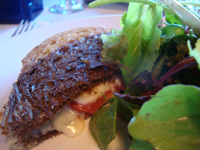Delicious grilled cabot cheese on marble rye bread at the Canoe Club Bistro Hanover (Dartmouth), NH