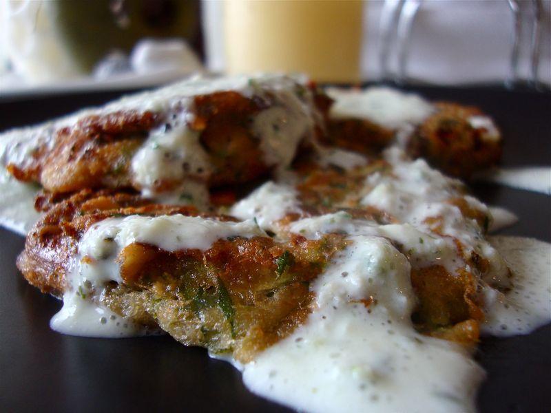 Zucchini pancakes with tzatziki sauce