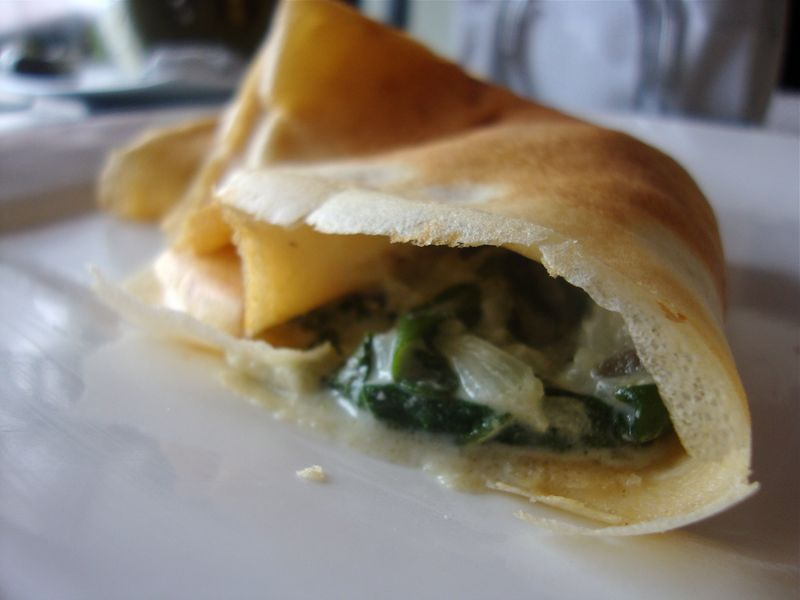 Masa crêpes with spinach, chiles, and cilantro