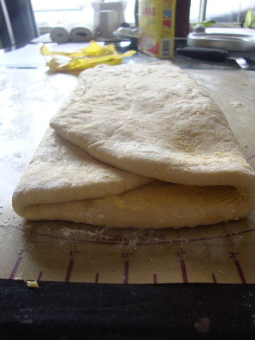 Finished puff pastry, ready to rest