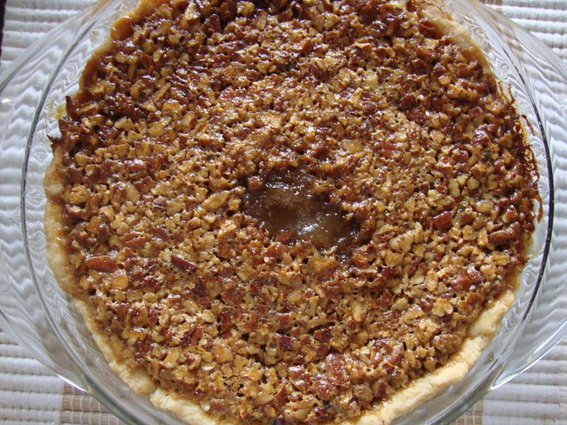 Pecan pie, fresh out of the oven