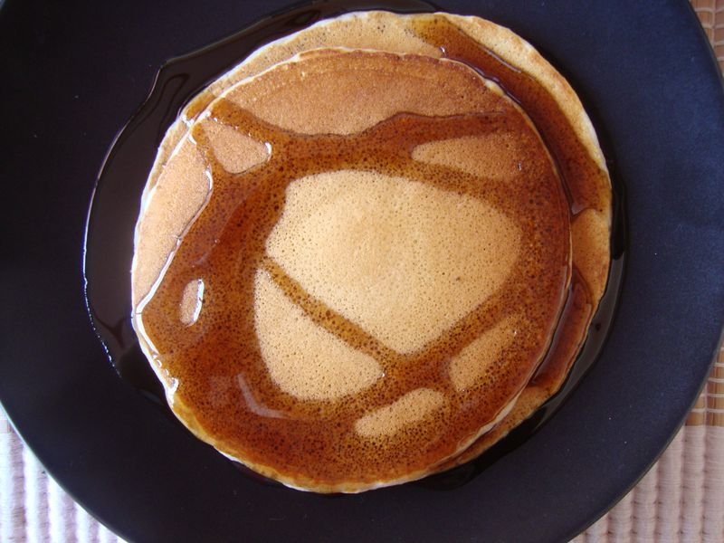 "Stunning and delicious pancakes (note- this is not the honey almond butter, it's cheap ""maple"" syrup)"