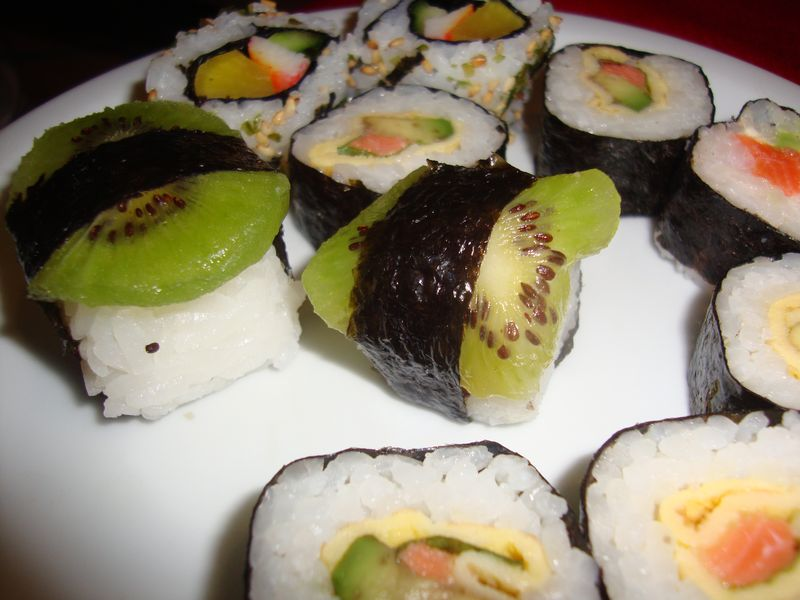 Kiwi sushi, an interesting and yummy combination