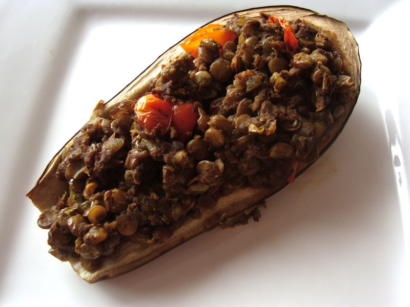Eggplant stuffed with curried lentils