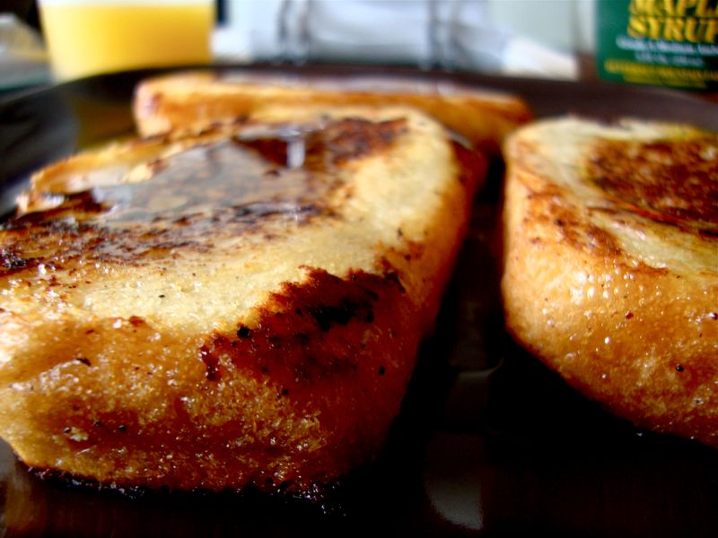 Fried french toast with maple syrup