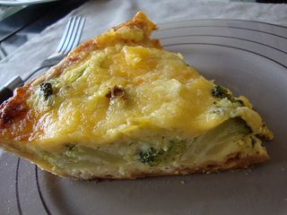 Broccoli and garlic quiche with all butter pastry crust
