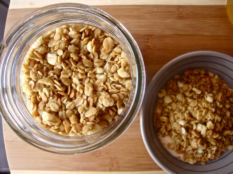 Homemade honey macadamia granola