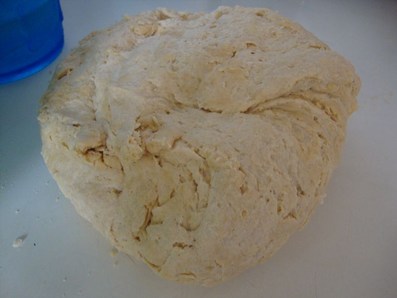 Dough ball after mixing in ice water