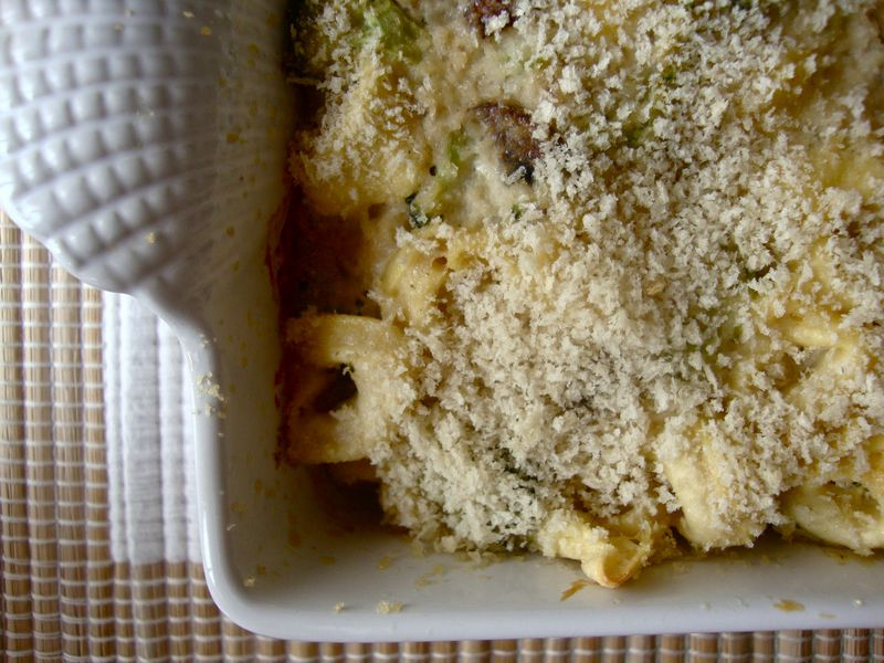 Broccoli mushroom tortellini casserole