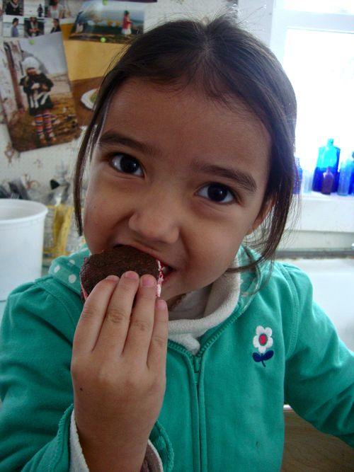 Frida eating a cookie!