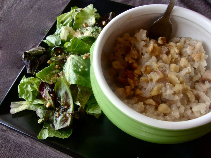 Red pear risotto with Bleu cheese and walnuts