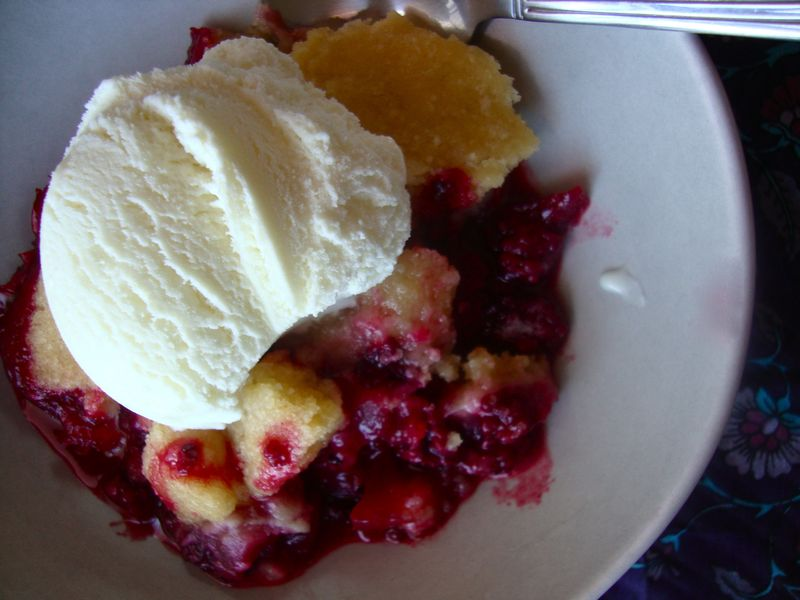 Simple blackberry and apple cobbler with vanilla ice cream