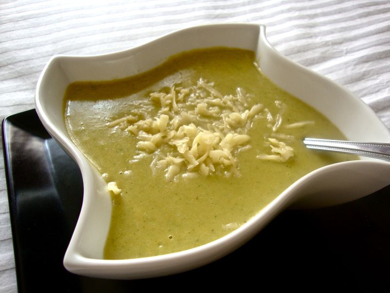 Creamy broccoli and potato soup with Baby Swiss cheese