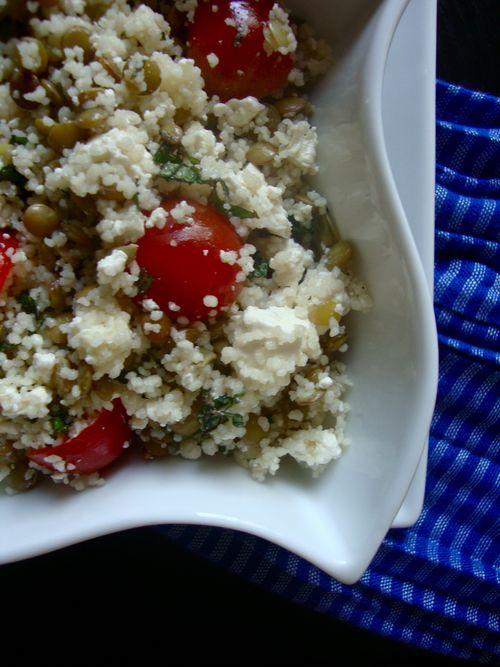 Mediterranean couscous and lentil salad