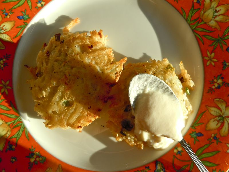 Potato pancakes with yogurt