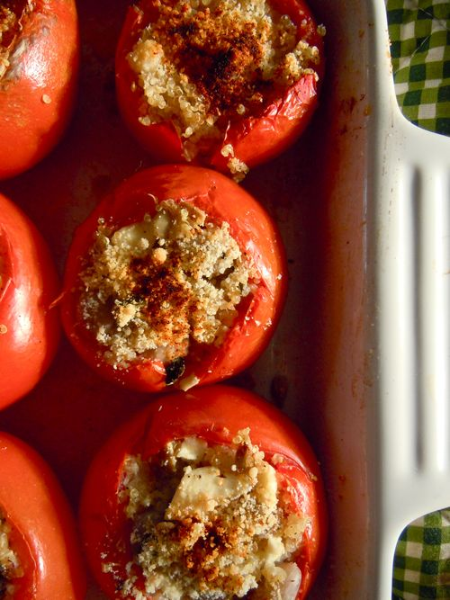 Roasted stuffed tomatoes with quinoa, feta, and fresh cranberry beans