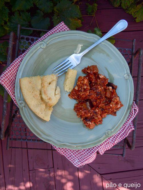 Vegetarian chili with tofu and eggplant, skillet cornbread