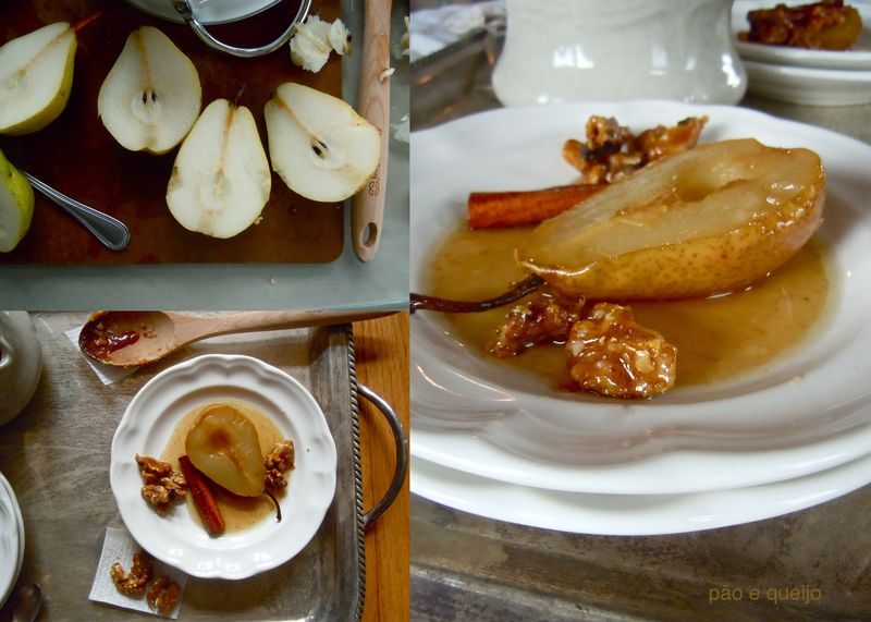 Roasted pears with caramel glaze and candied walnuts