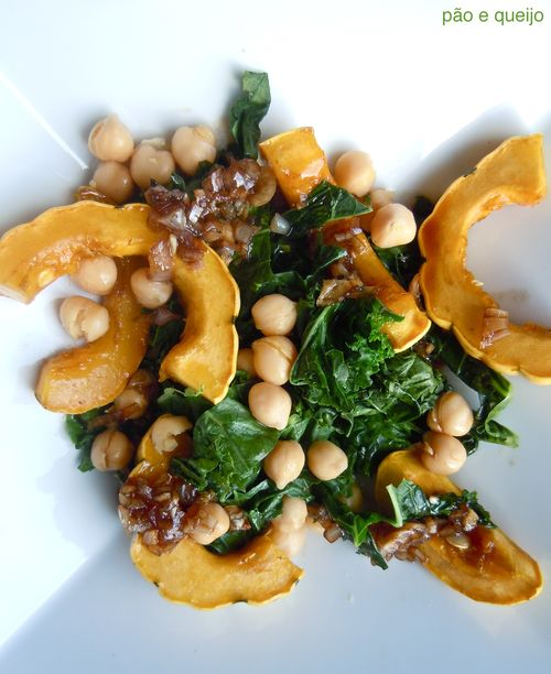 Delicata squash salad with kale and garbanzos