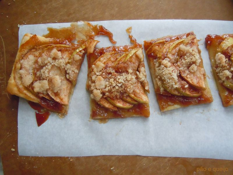 Apple puff pastry tart with spiced apple butter, crystallized ginger, and streusel topping