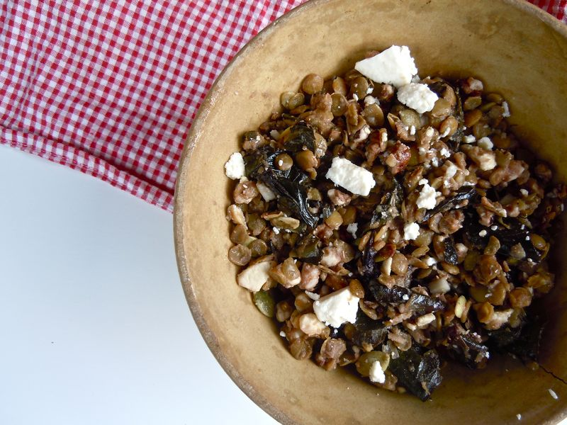 Warm lentil salad with treviso, feta, and lemon vinaigrette