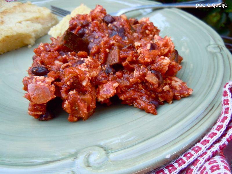 Vegetarian chili with tofu and eggplant