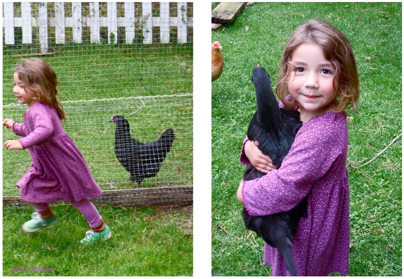 Aimee with Em's chickens
