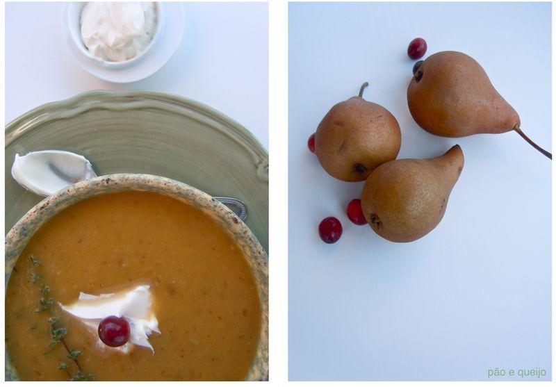 Pear, shallot, and delicata squash soup