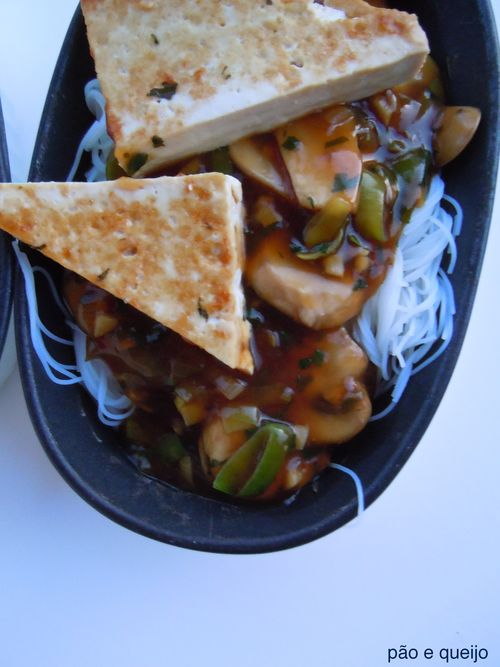Asian Rice Noodles & Tofu with Leeks and Mushrooms