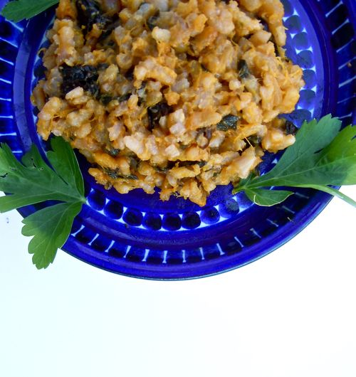 Blue hubbard squash and treviso risotto with asiago