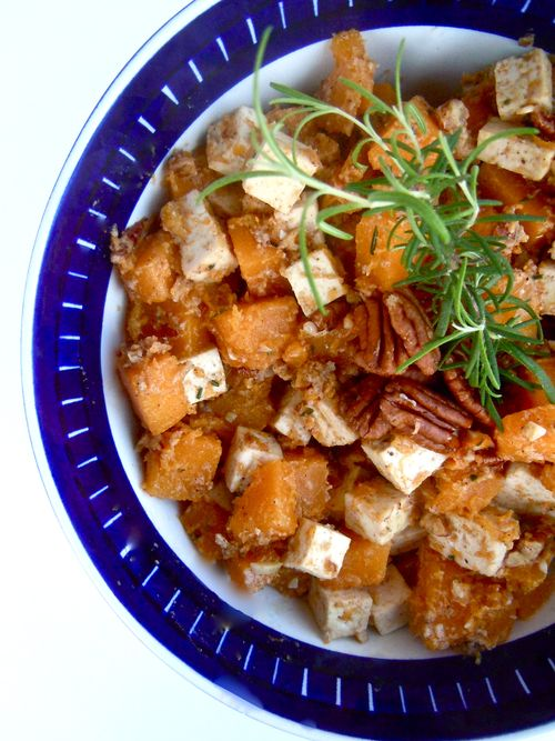 Butternut squash tofu with browned butter and pecans