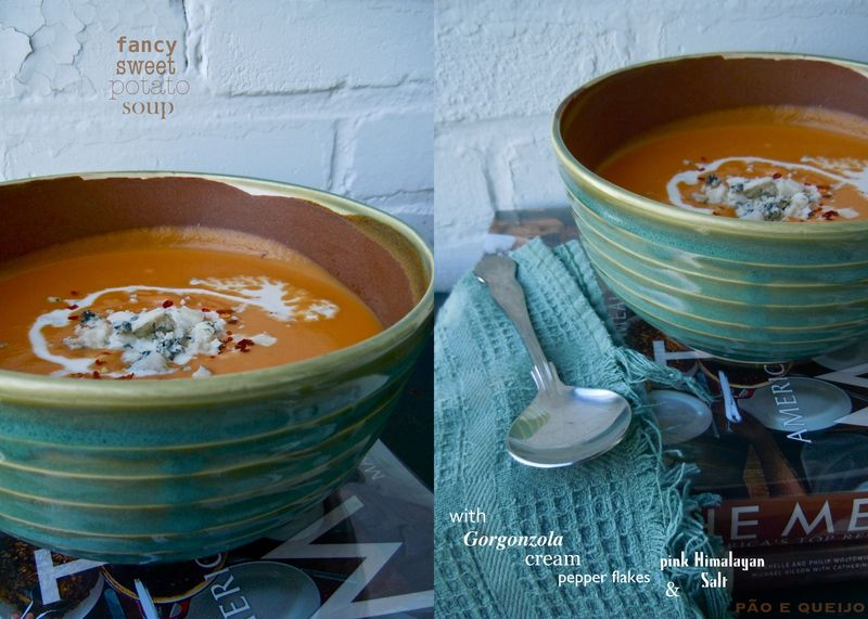Creamy Sweet Potato Soup with Gorgonzola