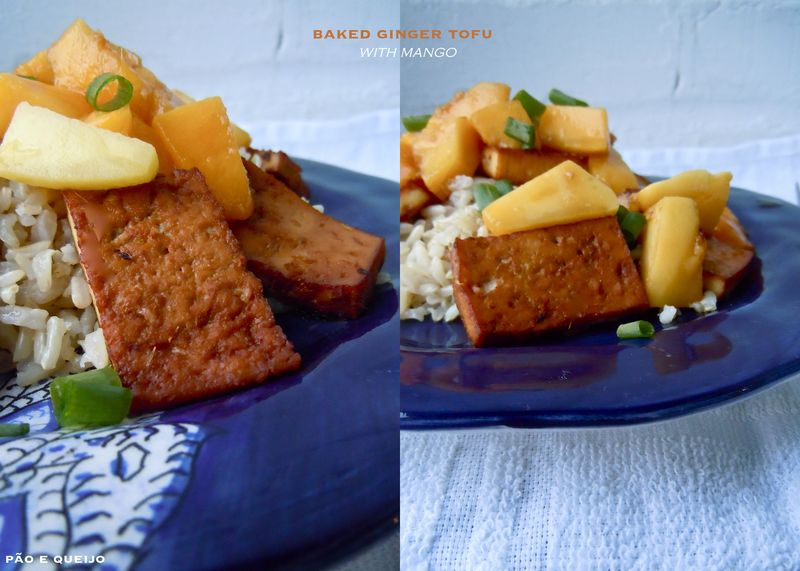 Baked ginger tofu with mango