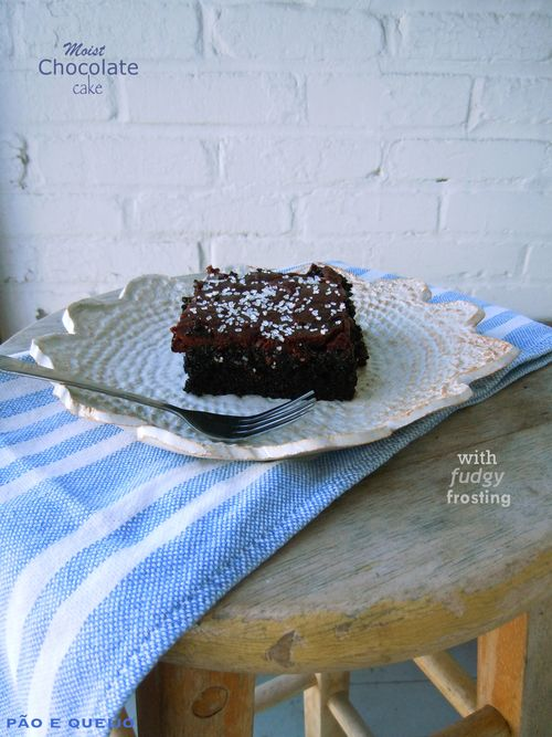 Moist chocolate cake with fudgy frosting